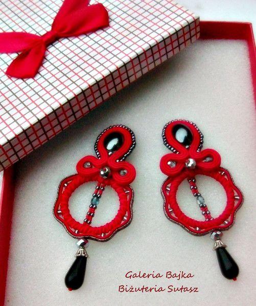 """Kolczyki sutasz (soutache)  """"Red Favorite"""" w Galeria Bajka Soutache Jewelry na DaWanda.com"""