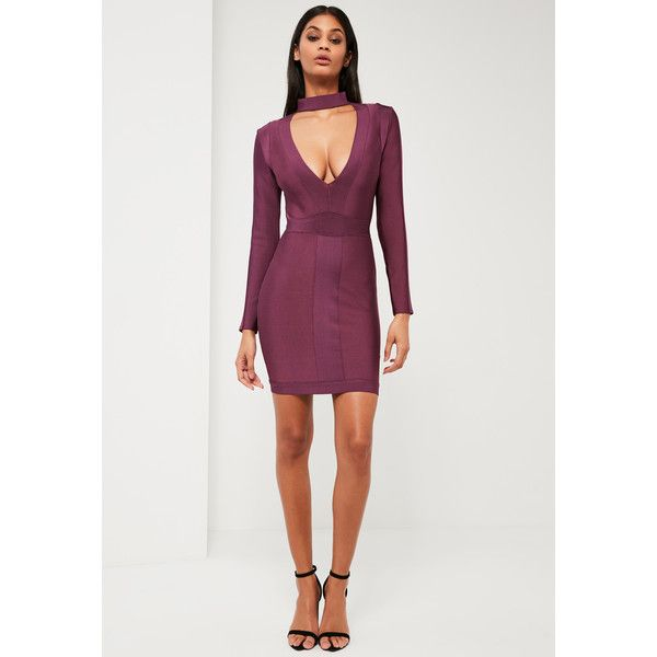 Missguided Peace + Love Purple Premium Bandage Choker Neck Dress ($136) ❤ liked on Polyvore featuring dresses, plum, long sleeve short dress, long sleeve bandage dress, purple dress, purple cocktail dresses and short dresses