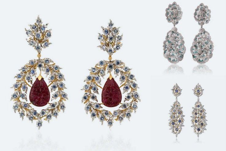 Buccellati Earrings Teodolinda with carved drop rubies, diamonds and sapphires Price: €70.000,-  Earrings Tempesta a Belle-Île containing Paraibi tourmaline Price: 350.000,- and Earrings Pavone (Peacock) with sapphires and diamonds Price: €105.000,-