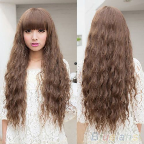 New Fashion Womens Lady Long Curly Wavy Hair Full Wigs Cosplay Party Brown 01T5 4N52