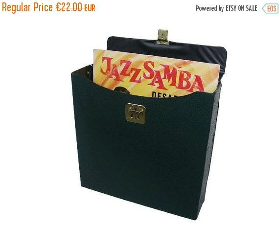 NOW ON SALE Vintage vinyl record storage case green faux leather