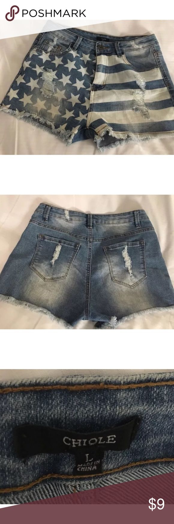 Americana Jean Shorts Chiqle brand.  Blues/whites American flag denim shirt shorts. Distressed accents Chiqle Shorts Jean Shorts