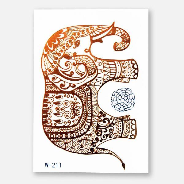 Das Metallic Tattoo 211 mit einem Elefantenkopf in Gold, einer Blume in Silber im Format 102 x 72 mm enthält 2 Sujets.
