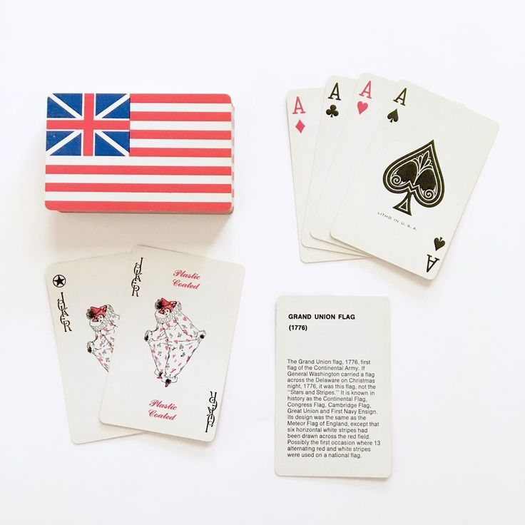 Vintage Complete Deck Playing Cards Grand Union Flag 1776 Patriotic 4th of July