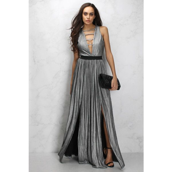 Limited Edition Silver Metallic Plunge Maxi Dress (€22) ❤ liked on Polyvore featuring dresses, plunge dress, long party dresses, going out dresses, sleeveless dress and plunge maxi dress
