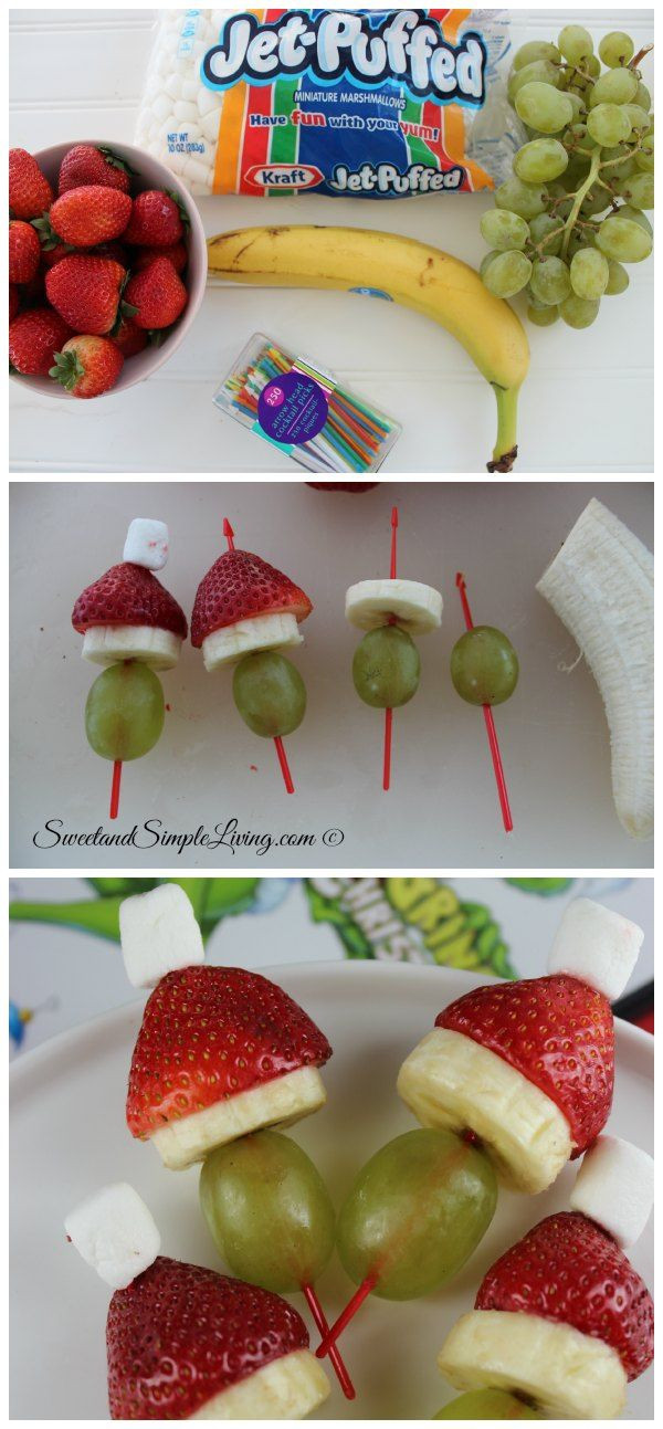 Grinch Fruit Kabobs:  Cute snack idea for the holidays