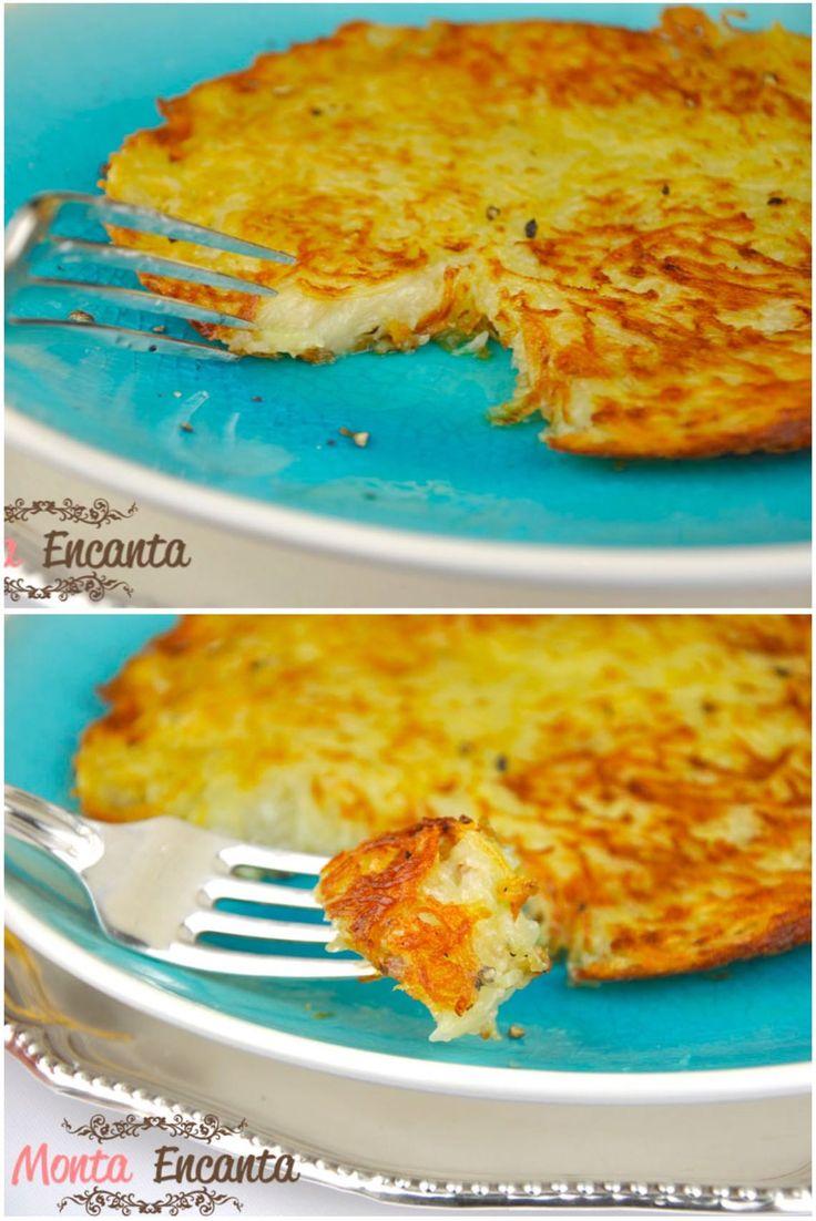 Batata Rösti, batata crua, frita em manteiga, sal e pimenta, podendo ser enriquecida com cebola, bacon, ovos, queijo, ervas,