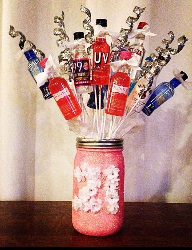 21st birthday present for my friend I made! Mason jar with alcohol bouquet! 21st birthday present for girls. Mason jar crafts. Glitter. Flowers.