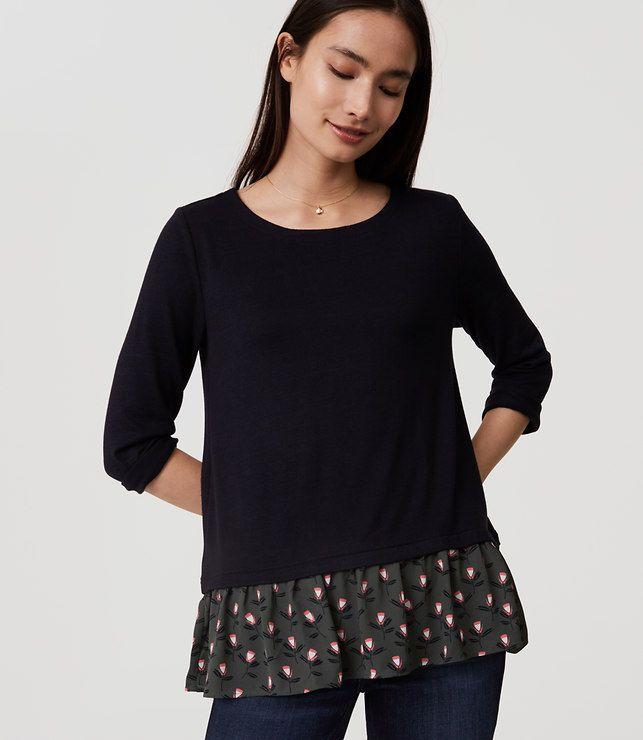 LOFT Tulip Flounce Sweater