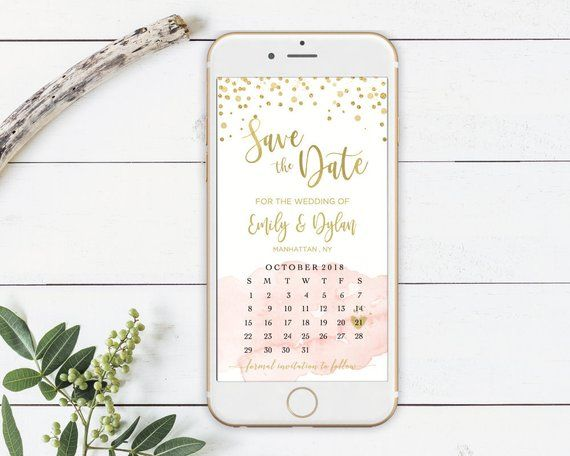 Save the Date Gold Pink with Calendar Template IPhone SMS TEMPLETT DIY Instant Download Electronic Smartphone Digital Editable Invitation