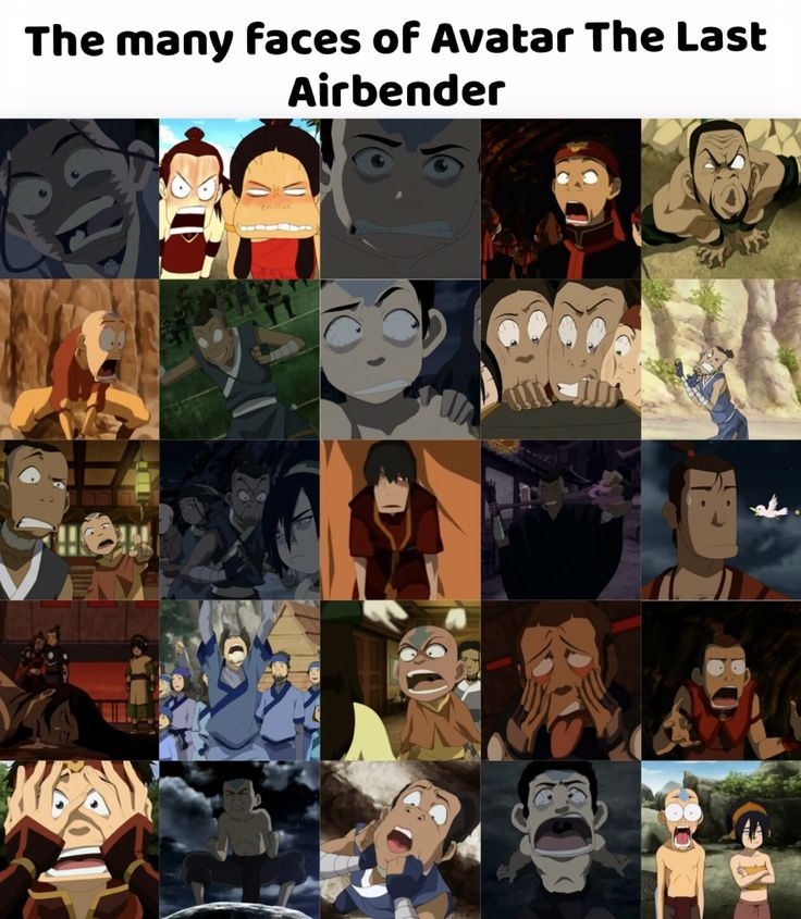 The many faces of Avatar the last airbender :) rewatched all 3 seasons in 5 days and caught most of these faces when I paused the show.