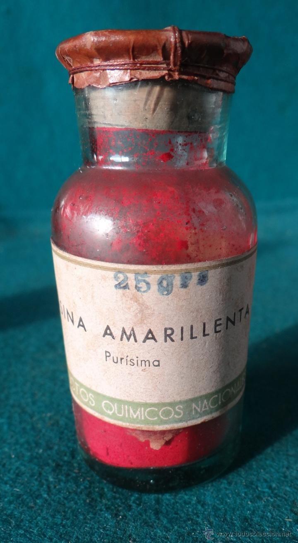 ANTIGUO FRASCO FARMACIA - EOSINA AMARILLENTA - MOVIL 25 25 CTS. - AÑOS 1940,s ----------- estalcon@gmail.com