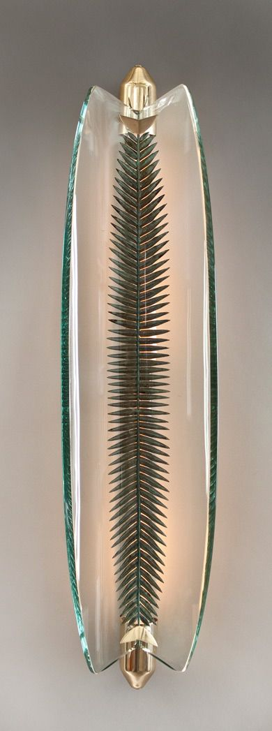 Pietro Chiesa,  Brass & Etched and Silvered Glass Wall Light for Fontana Arte, c1935.