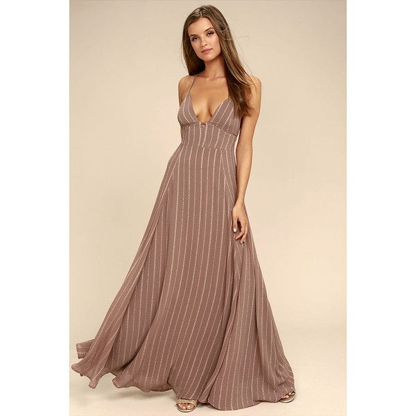 Elevate Light Brown Embroidered Maxi Dress ($78) ❤ liked on Polyvore featuring dresses, brown, striped dress, brown maxi dress, striped maxi skirt, maxi skirt and stripe dresses