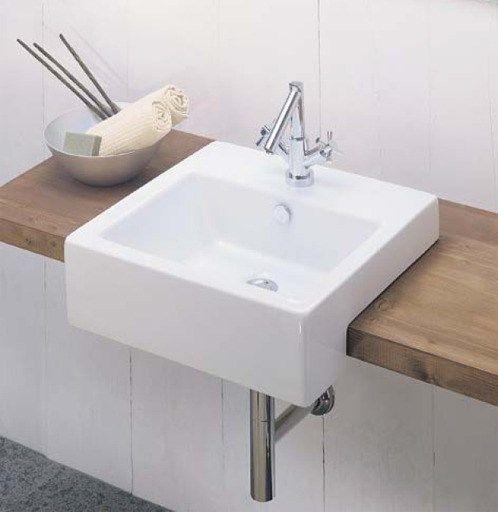 Lavabo Boxo lille firkantet håndvask hvid porcelæn med hanehul 28 X 48 - model 1087 | KØB online - 20187