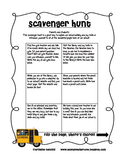Free school scavenger hunt for the beginning of the year and open house! - Young Teacher Love Blog