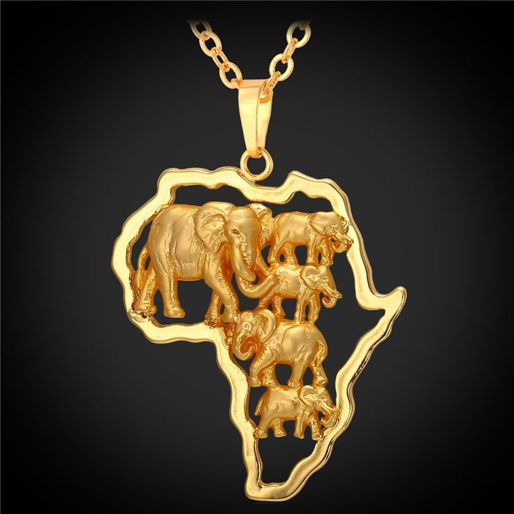Africa Map Horn Of Africa%0A Yellow Gold Plated African Map Elephant Animal Jewelry Gift      New  Men Women Ethnic Africa