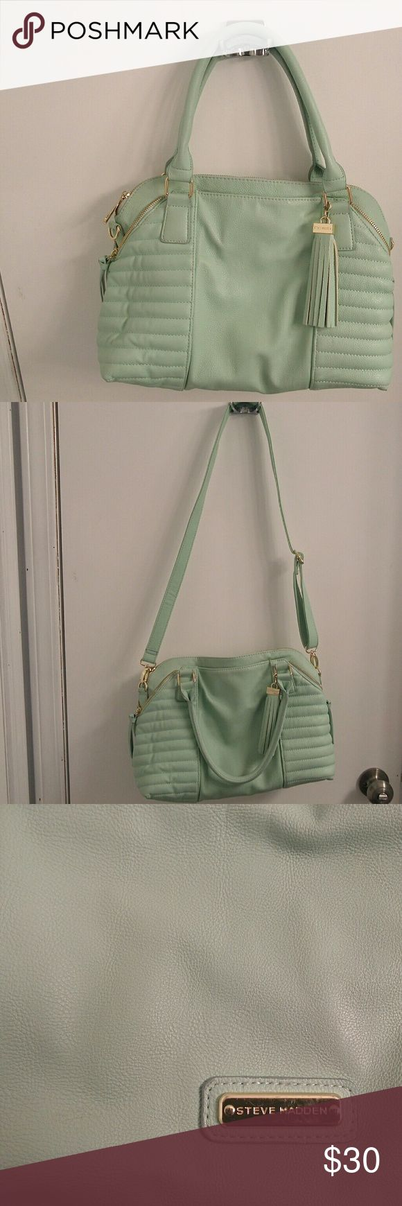Steve Madden handbag Mint colored handbag with should straps and removable crossover strap. Light wear, shown on the inside. Gold zippers and hooks. Steve Madden Bags Shoulder Bags