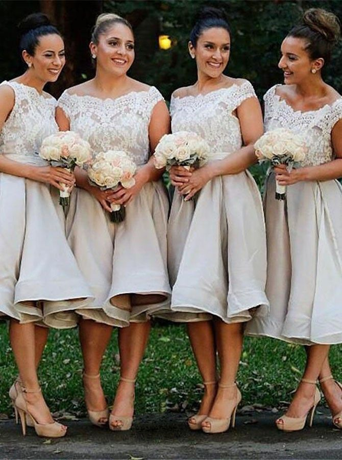 Stunning Off Shoulder Cap Sleeves Mid-Calf Light Grey Organza Bridesmaid Dress…