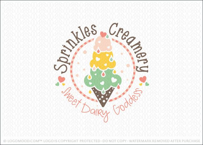 Ice Cream Cone Scoops Creamery Business Logo for Sale