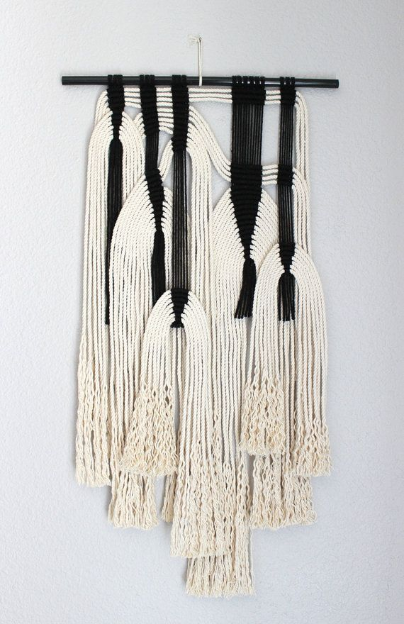 """Macrame Wall Hanging """"blk + wht #7"""" by HIMO ART, One of a kind Handcrafted Macrame, rope art"""