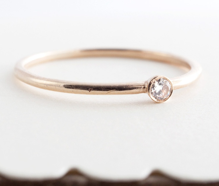 Petite Diamond Ring, White Gold, Stacking Ring, Engagement Ring, Tula Jewelry.. $150.00, via Etsy.