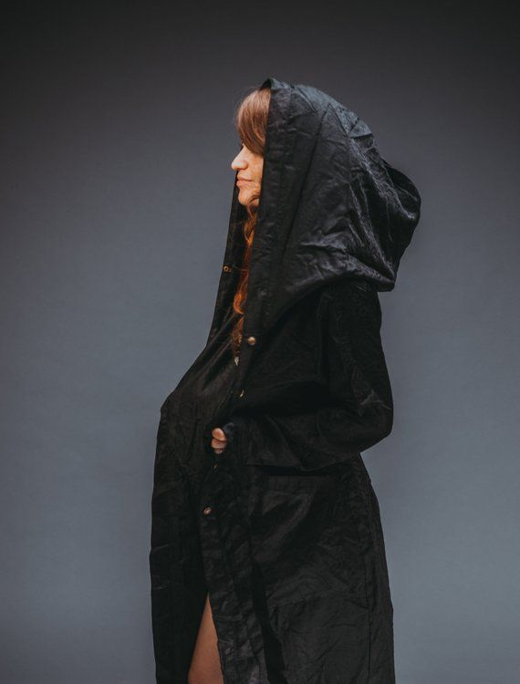 Black Majestic Silk Hooded Kimono Etsy Burning Man Costume