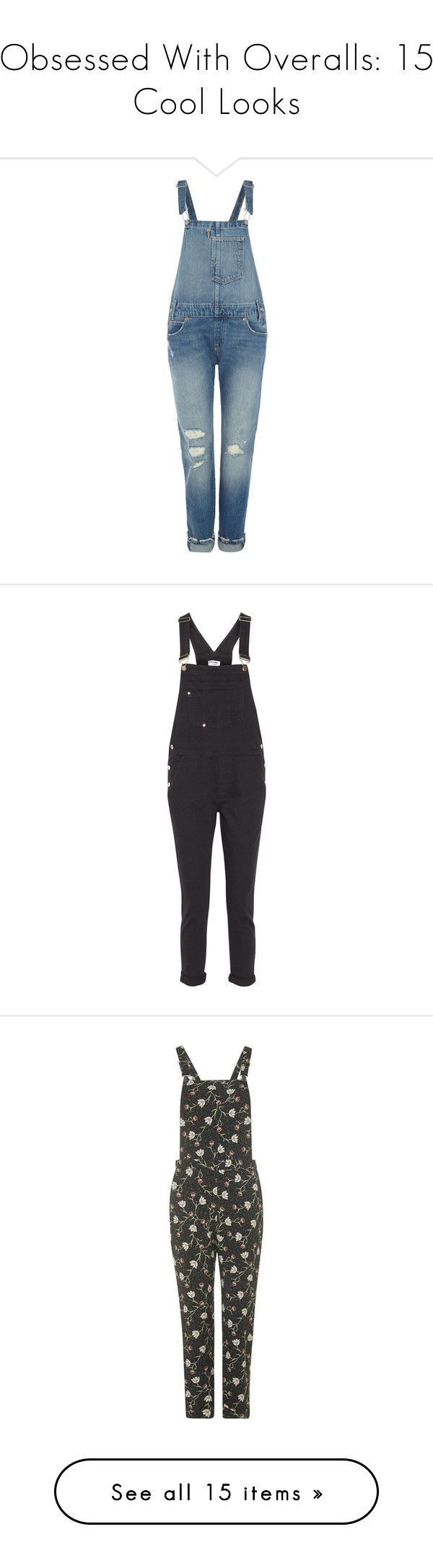 """Obsessed With Overalls: 15 Cool Looks"" by polyvore-editorial ❤ liked on Polyvore featuring overalls, jumpsuits, jeans, denim mid wash, women, overall jumpsuit, overall, blue bib overalls, blue overalls and levi's"