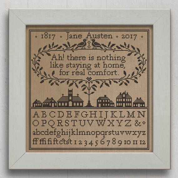 Real Comfort: A Jane Austen Sampler - Romantic Cross-Stitch Pattern 5 page Instant Download PDF booklet
