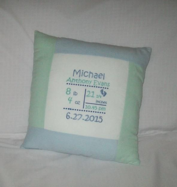 Personalized Embroidered Baby Birth Notice Cushion