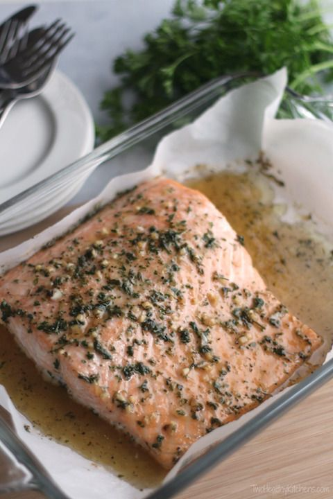 Easy Honey-Glazed Salmon - with a glaze/sauce made of honey, vinegar, canola oil, garlic, parsley, salt and pepper