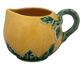 Pot à crème faïence portugaise, orange et vert - L11