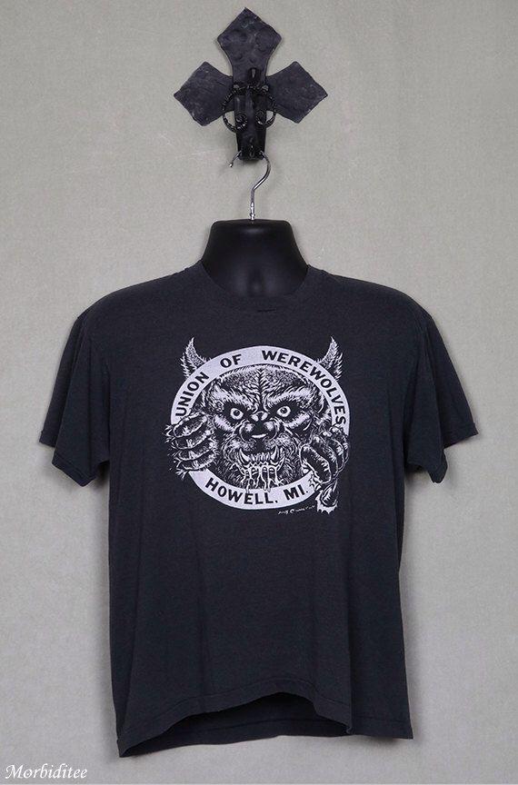 Werewolf t-shirt, horror logo, vintage rare, black t-shirt, sci-fi, science fiction, horror movie monster, Screen Stars soft and thin by Morbiditee on Etsy https://www.etsy.com/listing/502153385/werewolf-t-shirt-horror-logo-vintage