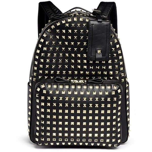 Valentino 'Rockstud' medium stud leather backpack ($3,250) ❤ liked on Polyvore featuring bags, backpacks, bolsas, valentino, black, black leather studded backpack, real leather backpack, black leather backpack, leather studded backpack and backpacks bags