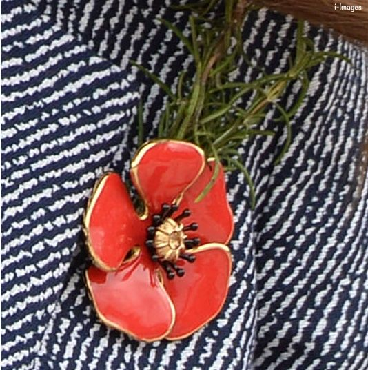 Poppy brooch given to Catherine by the wife of soldier Ben Roberts-Smith, recipient of the Victoria Cross, Australia's highest honor - National Service at the War Memorial, Anzac Day 2014