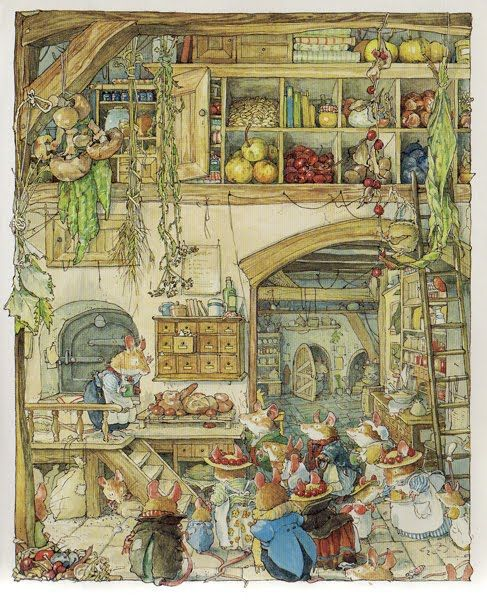 Brambley Hedge by Jill Barklem - beautiful children's books with amazing illustrations you can talk about together for hours.....