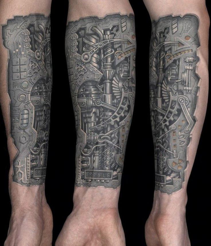 biomechanik tattoo unterarm roboterteile 3d effekt. Black Bedroom Furniture Sets. Home Design Ideas