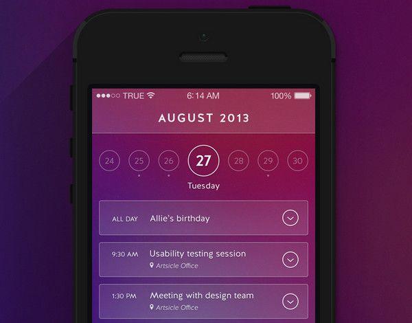 Well-Groomed Vibrant Calendar Widget Designs for Mobile Apps - Designmodo