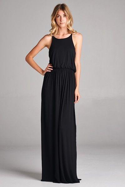 - Solid black maxi dress with high neckline & elastic waist. - 95% Rayon, 5%Spandex