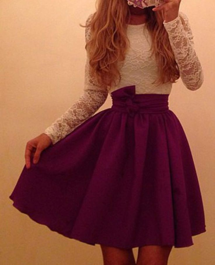 White and Purple Long Sleeve Lace Dress