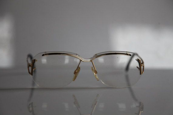 Vintage EBM W124 eyewear, Gold Half Rimless Frame,  Clear Lenses Rx Prescription . Very Rare Piece. Made in Germany