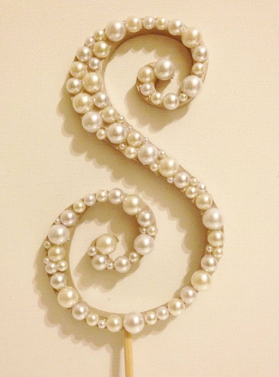 Pearl Monogram Cake Topper  White or Ivory by LLBridalDesigns, $34.50