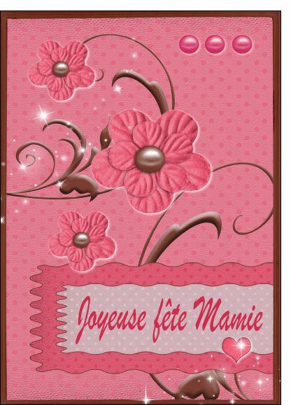 Carte Joyeuse fête mamie avec des fleurs roses pour envoyer par La Poste, sur Merci-Facteur ! #carte #fêtedesgrandsmères