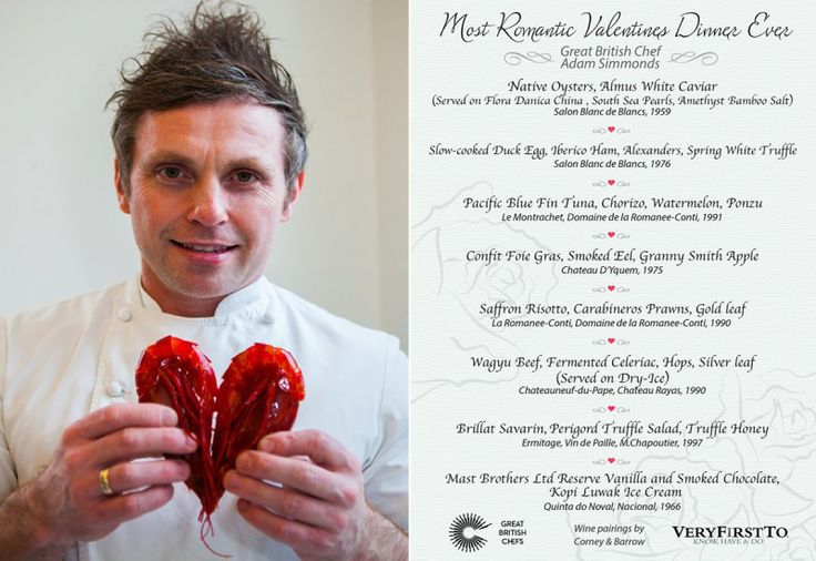 Michelin-starred chef Adam Simmonds Valentines Day Menu