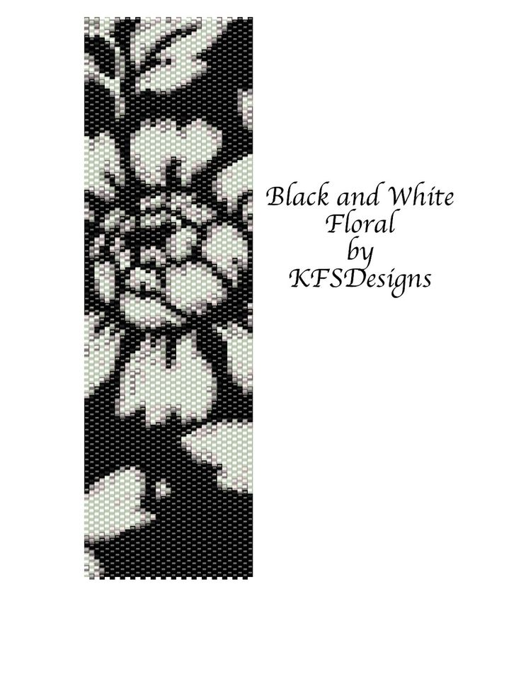 free peyote stitch patterns   Peyote Stitch Cuff Bracelet Pattern - Black and White Floral (Buy 2 ...