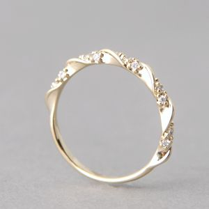 cz elegant single ribbon ring gold - Elegant Wedding Rings