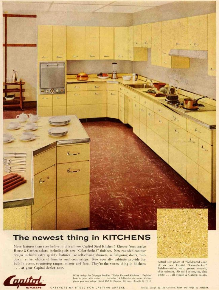 yellow retro kitchens - photo #31