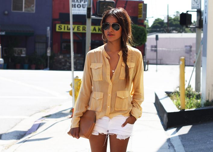Oversized sheer top, leather clutch, hoop earrings, and cutoffs: Blouses, Shorts Brandy Melvile, Fashion, White Shorts, Summer Looks, Summer Outfit, Cute Casual, Colleges Outfit, Pale Yellow