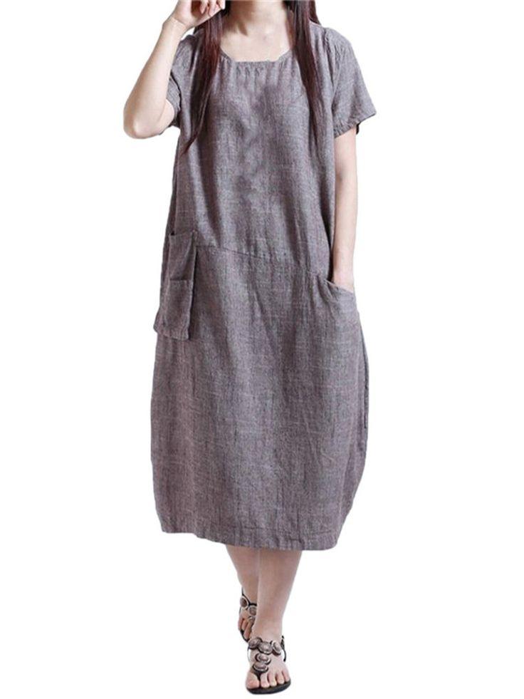 Miniabito in cotone biancheria d'epoca di colore solido manica corta camicia delle donne