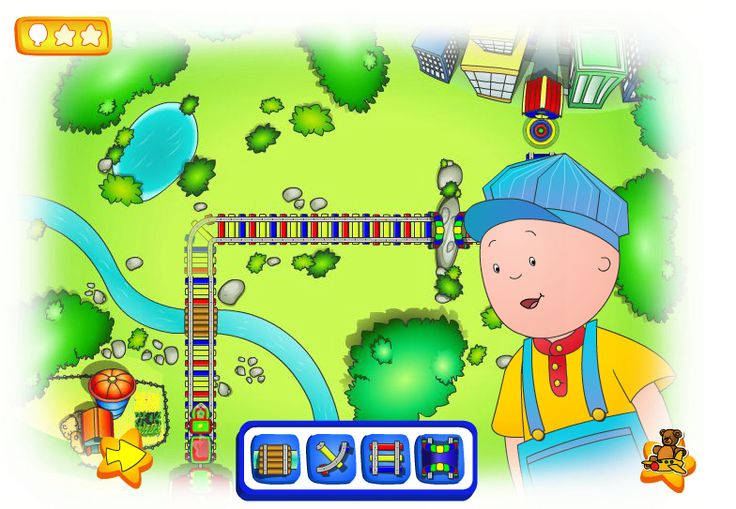 """This is an image from this resource on the Internet4Classrooms' """"Second Grade Math help on standardized tests, missing terms"""" resource page:    Help Caillou Build a Train Track.    When Caillou asks, """"Do you want to play with me?"""" click on the train. Match patterns of track pieces to let the passengers get to the train station."""